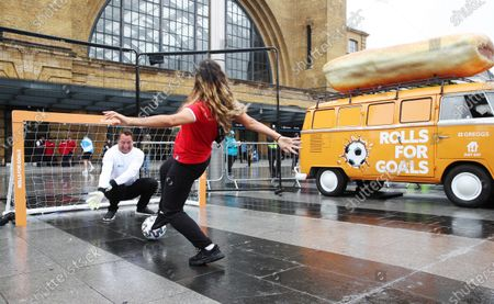 Former England Goalkeeper David Seaman made an appearance Kings Cross St.Pancras to give football fans free sausage rolls for goals scored, as part of a partnership between Just Eat and Greggs to celebrate Just Eat's sponsorship of UEFA EURO 2020.