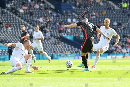 Croatia's Ivan Perisic scores his side's first goal during the Euro 2020 soccer championship group D match between Croatia and the Czech Republic at the Hampden Park stadium in Glasgow