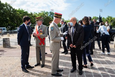 Julien Denormandie, General Benoir Puga, General Francois Lecointre, Chief of Staff of the Armed Forces, Jean-Yves Le Drian