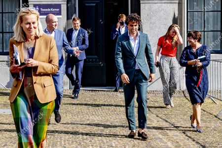 Sigrid Kaag, Jesse Klaver Gert jan Segers and Lilianne Ploumen leave after a meeting with Leader of negotiations Mariette Hamer for government's coalition talks in the Hague, the Netherlands, 18 June 2021. Hamer was appointed by the House to pull the stalled formation process of the new Dutch government out of the doldrums, but so far she has not yet succeeded
