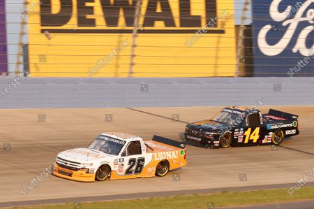 NASHVILLE SUPERSPEEDWAY, UNITED STATES OF AMERICA - JUNE 18: #26: Tyler Ankrum, GMS Racing, Chevrolet Silverado LiUNA!, #14: Trey Hutchens III, Trey Hutchens Racing, Chevrolet Silverado Rich Mar/Quality Roof Seamers at Nashville Superspeedway on Friday June 18, 2021, United States of America. (Photo by LAT Images)