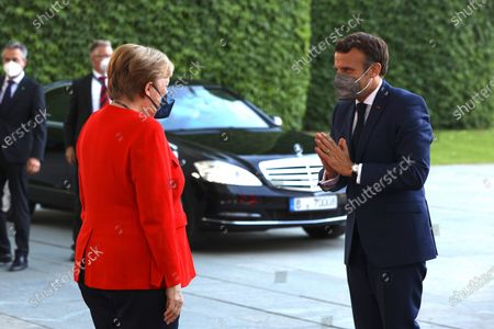 Angela Merkel welcomes French President Emmanuel Macron to the Chancellery, Berlin
