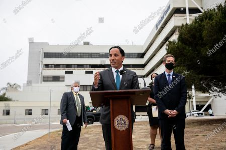 San Diego Mayor Todd Gloria and Congressman Mike Levin appear at a press conference at the San Diego Veterans Affairs Medical Center's vaccination clinic on Wednesday, June 2, 2021 in San Diego, CA. The tour and press conference were used to tout the American Rescue Plan and the inclusion of funds directed at veterans health care services.