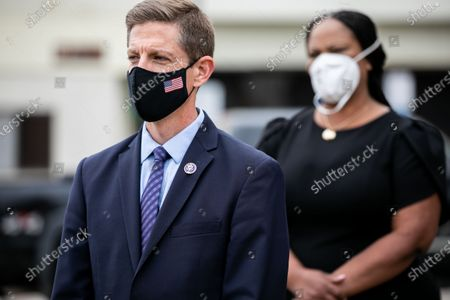 Congressman Mike Levin and Veterans Village of San Diego President and CEO Akilah Templeton appear at a press conference at the San Diego Veterans Affairs Medical Center's vaccination clinic on Wednesday, June 2, 2021 in San Diego, CA. The tour and press conference were used to tout the American Rescue Plan and the inclusion of funds directed at veterans health care services.