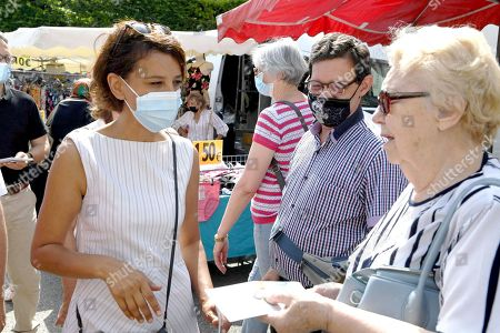 Stock Photo of Najat Vallaud-Belkacem at the Marche de Bourgoin Jallieu as part of her electoral campaign.
