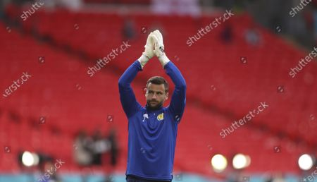 Stock Image of Scotland's goalkeeper David Marshall warms up before the Euro 2020 soccer championship group D match between England and Scotland at Wembley stadium in London