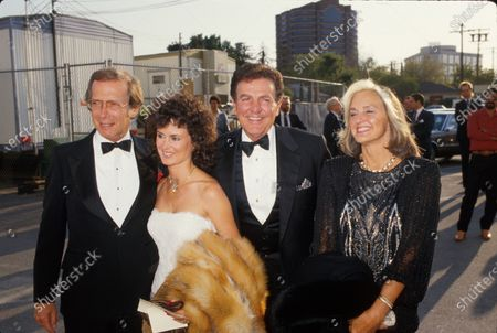 Actor Bernie Kopell (L) and his wife (2L) w. actor Mike Connors (2R) and his wife (R).