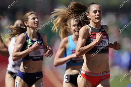 Jenny Simpson, right, wins the first heat in the prelims of women's 1500-meter run at the U.S. Olympic Track and Field Trials, in Eugene, Ore