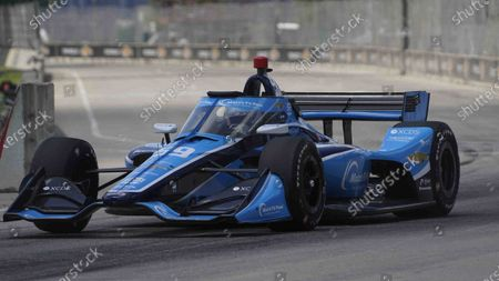 Max Chilton, of England, races during the second race of the IndyCar Detroit Grand Prix auto racing doubleheader on Belle Isle in Detroit