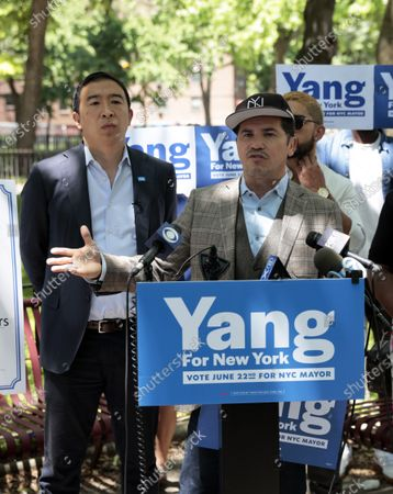 Stock Picture of John Leguizamo and Andrew Yang in New York City.