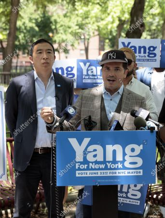 Stock Photo of John Leguizamo and Andrew Yang in New York City.