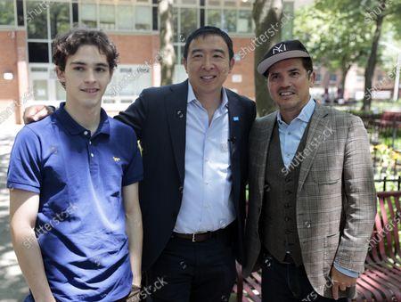 John Leguizamo, Lucas Leguizamo and Andrew Yang in New York City