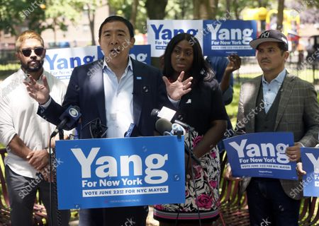 Editorial photo of Mayoral Candidate Yang Campaigns In New York, USA - 17 Jun 2021