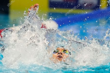 Stock Image of Ryan Murphy competes in a men's 200-meter backstroke semifinal heat during wave 2 of the U.S. Olympic Swim Trials, in Omaha, Neb