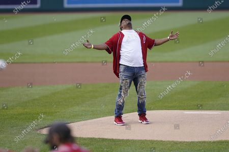Stock Photo of Capitol Police officer Eugene Goodman throws out the first pitch before the Washington Nationals baseball game against the New York Mets, in Washington