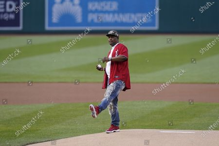 Stock Image of Capitol Police officer Eugene Goodman throws out the first pitch before the Washington Nationals baseball game against the New York Mets, in Washington