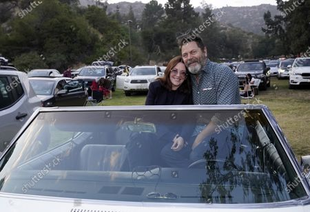"""Stock Image of Married actors Nick Offerman, right, and Megan Mullally pose together at the 30th anniversary screening of the film """"Thelma & Louise"""" at the Greek Theatre, in Los Angeles"""
