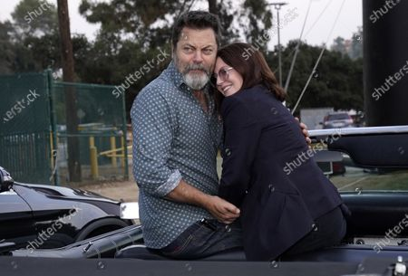 """Married actors Nick Offerman and Megan Mullally pose together at the 30th anniversary screening of the film """"Thelma & Louise"""" at the Greek Theatre, in Los Angeles"""