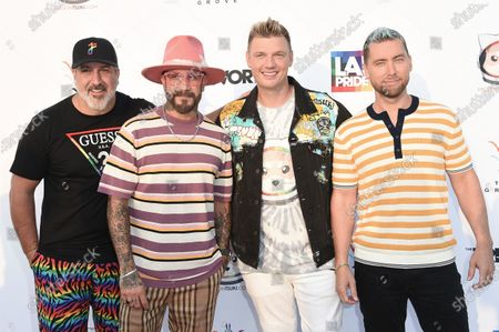 Joey Fatone, from left, AJ McLean, Nick Carter and Lance Bass attend Bingo Under the Stars, at The Grove in Los Angeles