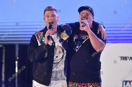 Nick Carter, left, and Joey Fatone perform at Bingo Under the Stars, at The Grove in Los Angeles