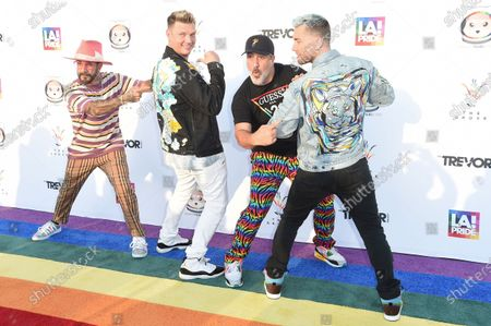 McLean, from left, Nick Carter, Joey Fatone and Lance Bass attend Bingo Under the Stars, at The Grove in Los Angeles