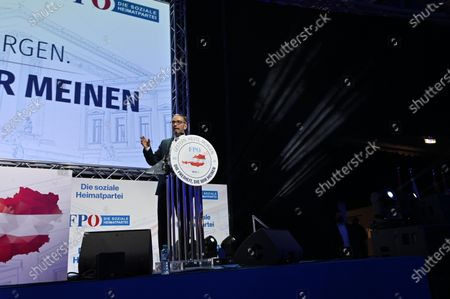 Herbert Kickl durring his speech on an Extraordinary federal party meeting of the far right Austrian Freedom Party (FPOe) at the Arena Nova in Wiener Neustadt, Austria, 19 June 2021. The FPOe party executive committee voted for former Interior Minister Herbert Kickl as new party leader after former FPOe leader Norbert Hofer resigned on 01 June 2021.