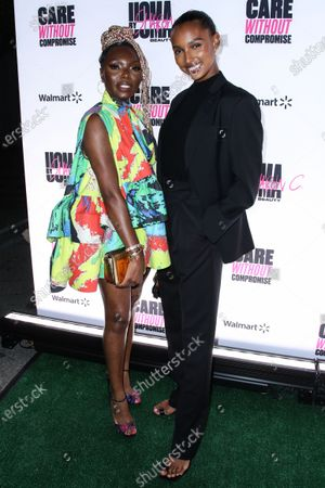Founder, CEO and Creative Director of UOMA Beauty Sharon Chuter and model Jasmine Tookes
