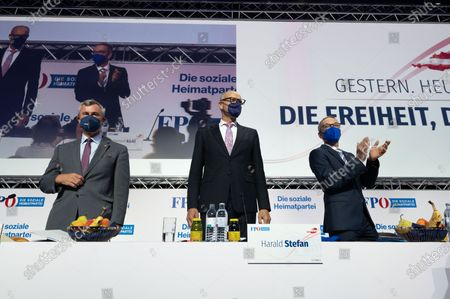 The former party leader Norbert Hofer, the interim party chairman Harald Stefan and the designated party chairman Herbert Kickl at the podium at the Arena Nova in Wiener Neustadt, Austria, 19 June 2021. The Austrian Freedom Party is holding an Extraordinary party meeting of the far right Austrian Freedom Party (FPOe) after Norbert Hofer resigned on 01 June 2021.