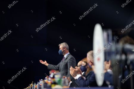 Norbert Hofer and Herbert Kickl on the podium at the Arena Nova in Wiener Neustadt, Austria, 19 June 2021. The Austrian Freedom Party is holding an Extraordinary party meeting of the far right Austrian Freedom Party (FPOe) after Norbert Hofer resigned on 01 June 2021.