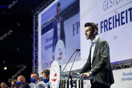 Udo Landbauer during his speech at the Arena Nova in Wiener Neustadt, Austria, 19 June 2021. The Austrian Freedom Party is holding an Extraordinary party meeting of the far right Austrian Freedom Party (FPOe) after Norbert Hofer resigned on 01 June 2021.