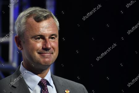 Norbert Hofer during his speech at the Arena Nova in Wiener Neustadt, Austria, 19 June 2021. The Austrian Freedom Party is holding an Extraordinary party meeting of the far right Austrian Freedom Party (FPOe) after Norbert Hofer resigned on 01 June 2021.
