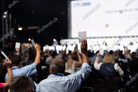 A poll during an Extraordinary party meeting of the far right Austrian Freedom Party (FPOe) at the Arena Nova in Wiener Neustadt, Austria, 19 June 2021. The Austrian Freedom Party is holding an Extraordinary party meeting of the far right Austrian Freedom Party (FPOe) after Norbert Hofer resigned on 01 June 2021.