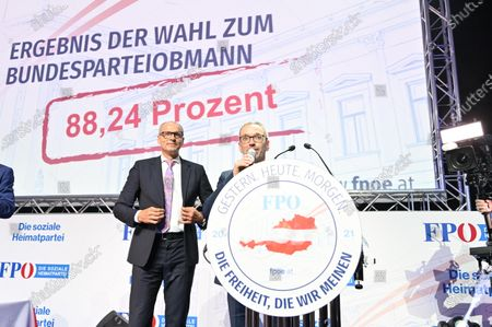 Former Austrian Interior minister Herbert Kick (R) and new leader of the right-wing Austrian Freedom Party (FPOe) speak during a party convention in Wiener Neustadt, Austria, 19 June 2021. The FPOe party executive committee voted with 88.24 percent of the vote for former Interior Minister Herbert Kickl as new party leader after former FPOe leader Norbert Hofer resigned on 01 June 2021.