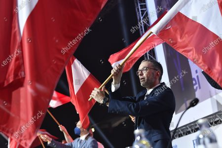 Stock Image of Former Austrian Interior minister, Herbert Kick, and new leader of the right-wing Austrian Freedom Party (FPOe) waves flag during a party convention in Wiener Neustadt, Austria, 19 June 2021. The FPOe party executive committee voted with 88.24 percent of the vote for former Interior Minister Herbert Kickl as new party leader after former FPOe leader Norbert Hofer resigned on 01 June 2021.