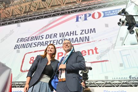 Former Austrian Interior minister Herbert Kick (R) and new leader of the right-wing Austrian Freedom Party (FPOe), during a party convention in Wiener Neustadt, Austria, 19 June 2021. The FPOe party executive committee voted with 88.24 percent of the vote for former Interior Minister Herbert Kickl as new party leader after former FPOe leader Norbert Hofer resigned on 01 June 2021.