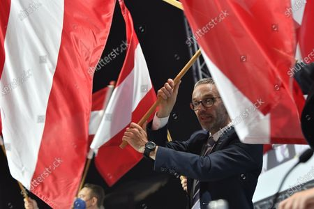 Stock Picture of Former Austrian Interior minister, Herbert Kick, and new leader of the right-wing Austrian Freedom Party (FPOe) waves flag during a party convention in Wiener Neustadt, Austria, 19 June 2021. The FPOe party executive committee voted with 88.24 percent of the vote for former Interior Minister Herbert Kickl as new party leader after former FPOe leader Norbert Hofer resigned on 01 June 2021.