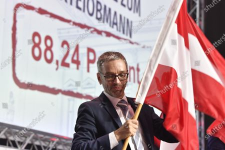 Former Austrian Interior minister, Herbert Kick, and new leader of the right-wing Austrian Freedom Party (FPOe) waves flag during a party convention in Wiener Neustadt, Austria, 19 June 2021. The FPOe party executive committee voted with 88.24 percent of the vote for former Interior Minister Herbert Kickl as new party leader after former FPOe leader Norbert Hofer resigned on 01 June 2021.