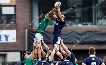 Scotland vs Ireland. Ireland's Mark Morrissey competes in the air with Alex Samuel of Scotland