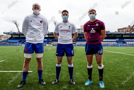 England vs France. France's Joshua Brennan at the coin toss with Referee Chris Busby and Jack van Poortvliet of England