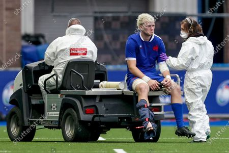 England vs France. France's Captain Joshua Brennan leaves the field due to an injury