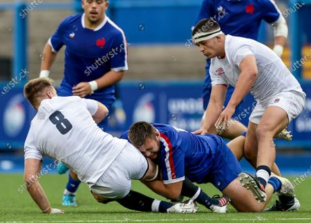England vs France. England's Jack Clement is tackled by Maxime Bordenave of France