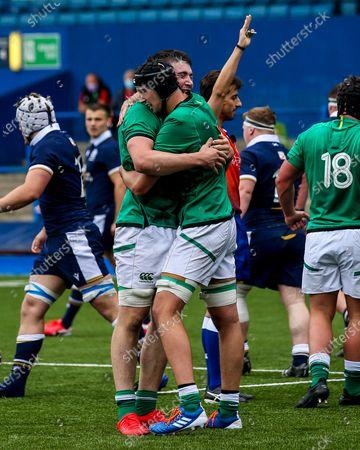 Scotland vs Ireland. Ireland's Harry Sheridan and Mark Morrissey celebrate winning a penalty