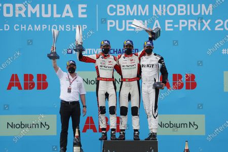 Allan McNish, Team Principal, Audi Sport Abt Schaeffler, Rene Rast (DEU), Audi Sport ABT Schaeffler, 2nd position, Lucas Di Grassi (BRA), Audi Sport ABT Schaeffler, 1st position, and Edoardo Mortara (CHE), Venturi Racing, 3rd position, with their trophies on the podium during the 2021 Formula E Round 8 - Puebla E-Prix