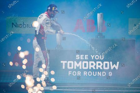 Lucas Di Grassi (BRA), Audi Sport ABT Schaeffler, 1st position, sprays Champagne on the podium during the 2021 Formula E Round 8 - Puebla E-Prix