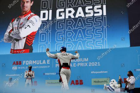 Lucas Di Grassi (BRA), Audi Sport ABT Schaeffler, 1st position, heads onto the podium during the 2021 Formula E Round 8 - Puebla E-Prix