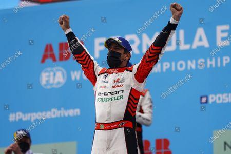 Lucas Di Grassi (BRA), Audi Sport ABT Schaeffler, 1st position, celebrates on the podium during the 2021 Formula E Round 8 - Puebla E-Prix