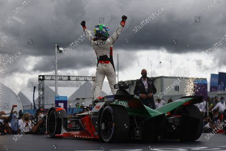 Lucas Di Grassi (BRA), Audi Sport ABT Schaeffler, 1st position, celebrates in Parc Ferme during the 2021 Formula E Round 8 - Puebla E-Prix