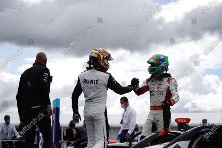 Edoardo Mortara (CHE), Venturi Racing, 3rd position, congratulates Lucas Di Grassi (BRA), Audi Sport ABT Schaeffler, 1st position, in Parc Ferme during the 2021 Formula E Round 8 - Puebla E-Prix