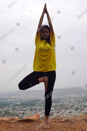 Indian Girl Tanvi Sharma Practices Yoga Ahead of The International Yoga Day in Ajmer, In the Indian State of Rajasthan on 19 June 2021.