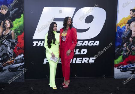 """Stock Image of Vanessa Bryant and and daughter Natalia Diamante Bryant….The """"F9"""" premiere at TCL Chinese Theatre, the lastest in the """"Fast and Furious"""" saga marks a triumphant re-opening of Los Angeles. Since the pandemic, all of the businesses related to premieres(security, tent companies, limos, red carpet guys) have all but dried up. Be great to get guys working the event-security, red carpet vacuum guys, etc. Photographed in TCL Chinese Theatre on Friday, June 18, 2021 in Hollywood, CA. (Myung J. Chun / Los Angeles Times)"""